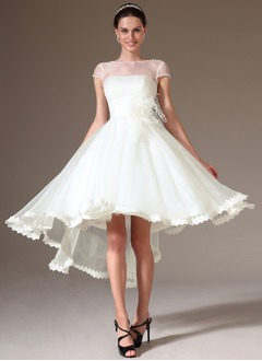 A-Line/Princess Scoop Neck Asymmetrical Tulle Homecoming Dress With Beading Feather