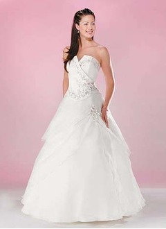 Ball-Gown Strapless Floor-Length Organza Satin Quinceanera Dress With Embroidered Beading