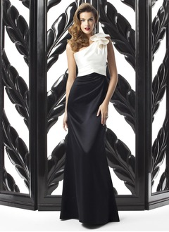 Sheath/Column One-Shoulder Sweep Train Satin Evening Dress With Ruffle Cascading Ruffles