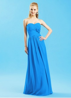 A-Line/Princess Strapless Sweetheart Floor-Length Chiffon Prom Dress With Ruffle