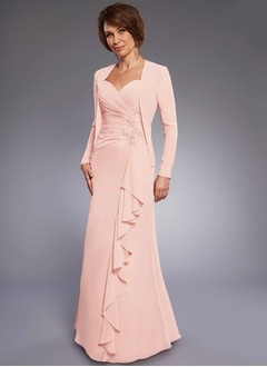 Sheath/Column Sweetheart Floor-Length Chiffon Mother of the Bride Dress With Lace Beading Appliques Lace