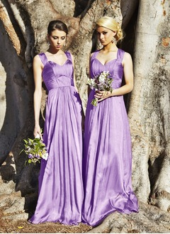 A-Line/Princess Sweetheart Floor-Length Satin Chiffon Bridesmaid Dress With Ruffle