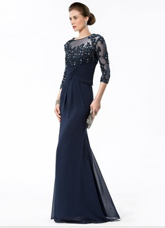 Trumpet/Mermaid Scoop Neck Floor-Length Chiffon Tulle Mother of the Bride Dress With Beading Appliques Lace