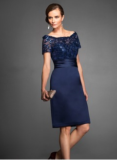 Sheath/Column Off-the-Shoulder Knee-Length Satin Cocktail Dress With Appliques Lace Sequins