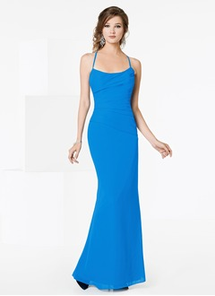 Sheath/Column Square Neckline Floor-Length Chiffon Bridesmaid Dress With Ruffle