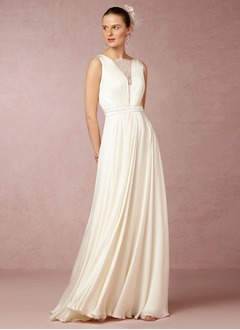 A-Line/Princess Square Neckline Sweep Train Chiffon Wedding Dress With Ruffle Lace