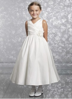A-Line/Princess V-neck Ankle-Length Taffeta Flower Girl Dress With Ruffle Sash