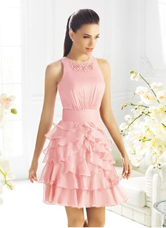 A-Line/Princess Scoop Neck Knee-Length 30D Chiffon Cocktail Dress With Ruffle Beading Cascading Ruffles