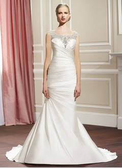 Trumpet/Mermaid Scoop Neck Court Train Satin Tulle Wedding Dress With Ruffle Beading Appliques Lace