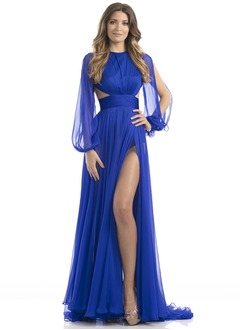 A-Line/Princess Scoop Neck Sweep Train 30D Chiffon Evening Dress With Ruffle Split Front