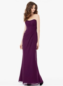 Sheath/Column Strapless Sweetheart Floor-Length Chiffon Bridesmaid Dress With Ruffle