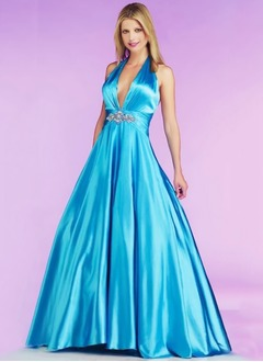 Ball-Gown Halter Sweep Train Satin Prom Dress With Ruffle Beading