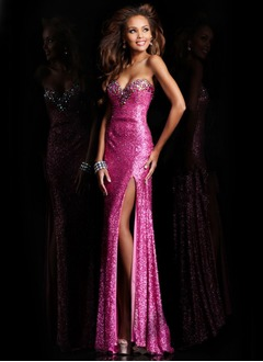 Trumpet/Mermaid Sweetheart Sweep Train Sequined Prom Dress With Beading Split Front
