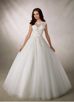 Ball-Gown Scoop Neck Court Train Organza Tulle Wedding Dress With Beading Appliques Lace