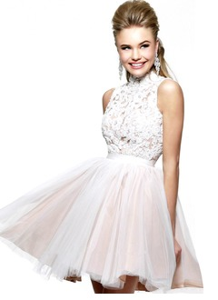 A-Line/Princess High Neck Short/Mini Tulle Lace Prom Dress