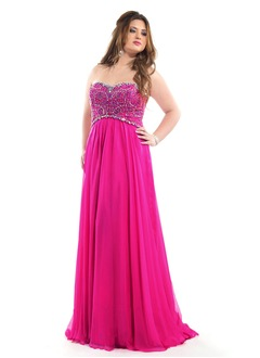 Empire Strapless Sweetheart Sweep Train Chiffon Prom Dress With Beading