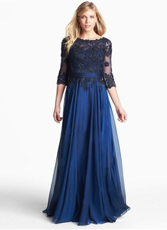 A-Line/Princess Scoop Neck Floor-Length Chiffon Lace Mother  ...
