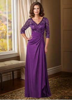 Sheath/Column V-neck Floor-Length Satin Chiffon Mother of the Bride Dress With Ruffle Sequins