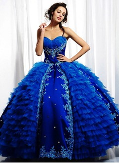 Ball-Gown Sweetheart Floor-Length Tulle Lace Quinceanera Dress With Embroidered Lace Beading