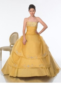 Ball-Gown Halter Floor-Length Taffeta Organza Quinceanera Dress With Ruffle Lace Beading
