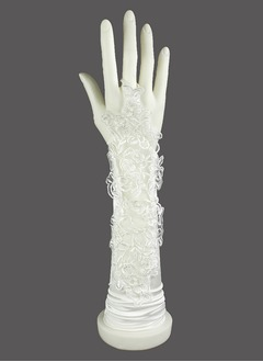 Elastic Satin Elbow Length Bridal Gloves (01405017762)