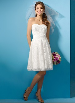A-Line/Princess Strapless Sweetheart Knee-Length Satin Lace Wedding Dress