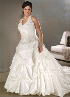 Ball-Gown Halter Cathedral Train Taffeta Wedding Dress With Embroidered Ruffle Beading Sequins