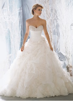 Ball-Gown Strapless Sweetheart Cathedral Train Organza Wedding Dress With Ruffle Beading Flower(s) Cascading Ruffles