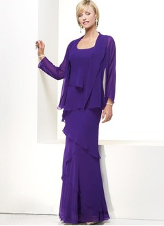 A-Line/Princess Scoop Neck Floor-Length Chiffon Mother of the  ...