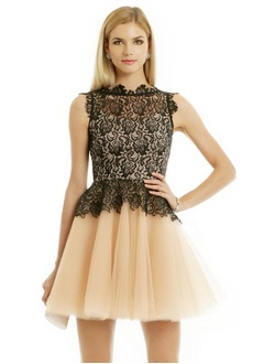 A-Line/Princess Scoop Neck Short/Mini Tulle Lace Cocktail Dress With Ruffle