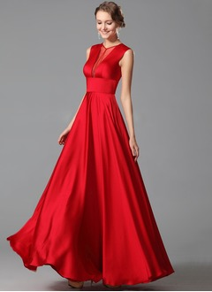 A-Line/Princess Scoop Neck Floor-Length Satin Chiffon Prom Dress