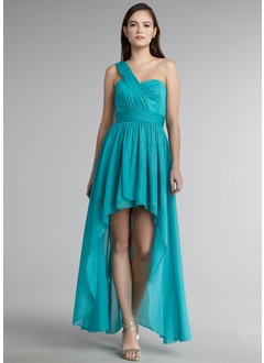 A-Line/Princess One-Shoulder Asymmetrical Chiffon Prom Dress With Ruffle