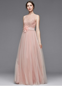A-Line/Princess Scoop Neck Floor-Length Tulle Charmeuse Evening Dress With Ruffle Lace Beading Flower(s) (0175104323)