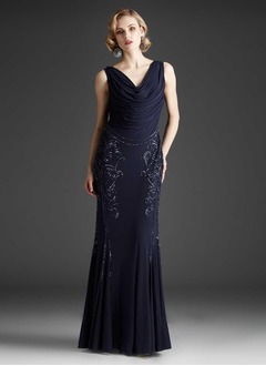 Trumpet/Mermaid Cowl Neck Floor-Length Chiffon Evening Dress With Beading