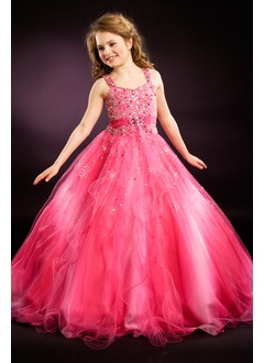 A-Line/Princess Scoop Neck Floor-Length Organza Flower Girl Dress With Beading Cascading Ruffles