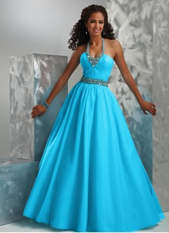 Ball-Gown Halter Floor-Length Organza Quinceanera Dress With Ruffle Beading