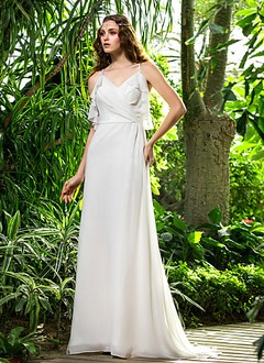 Sheath/Column V-neck Sweep Train Chiffon Wedding Dress With Ruffle