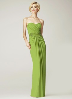 Sheath/Column Strapless Sweetheart Floor-Length Chiffon Evening Dress With Ruffle Beading