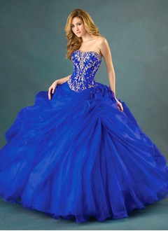 Ball-Gown Strapless Sweetheart Floor-Length Organza Prom Dress With Ruffle Appliques Lace