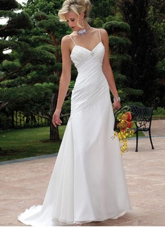 A-Line/Princess Sweetheart Court Train Chiffon Wedding Dress With Ruffle Crystal Brooch