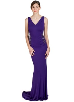 Sheath/Column V-neck Sweep Train Jersey Evening Dress With Beading Appliques Lace