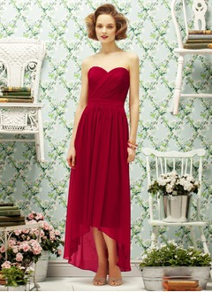 A-Line/Princess Strapless Sweetheart Asymmetrical Chiffon Prom Dress With Ruffle