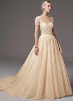 Ball-Gown Scoop Neck Chapel Train Tulle Lace Wedding Dress With Appliques Lace