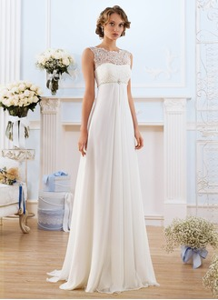 Empire Scoop Neck Sweep Train Chiffon Wedding Dress With Lace Beading (0025093152)