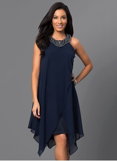 A-Line/Princess Scoop Neck Asymmetrical Chiffon Cocktail Dress With Beading Cascading Ruffles