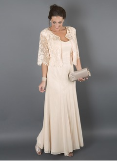 A-Line/Princess Sweetheart Floor-Length Chiffon Mother of the Bride Dress With Lace