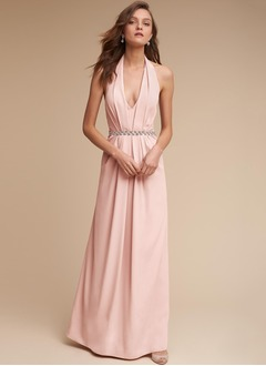 A-Line/Princess V-neck Floor-Length Charmeuse Bridesmaid Dress With Ruffle