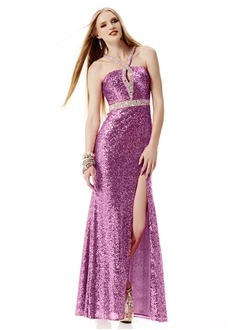 Trumpet/Mermaid V-neck Floor-Length Sequined Prom Dress With Beading Split Front