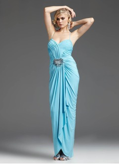 Sheath/Column Sweetheart Asymmetrical Chiffon Evening Dress With Ruffle Crystal Brooch
