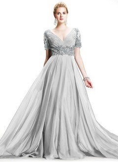 A-Line/Princess V-neck Sweep Train Chiffon Mother of the Bride Dress With Ruffle Beading Appliques Lace
